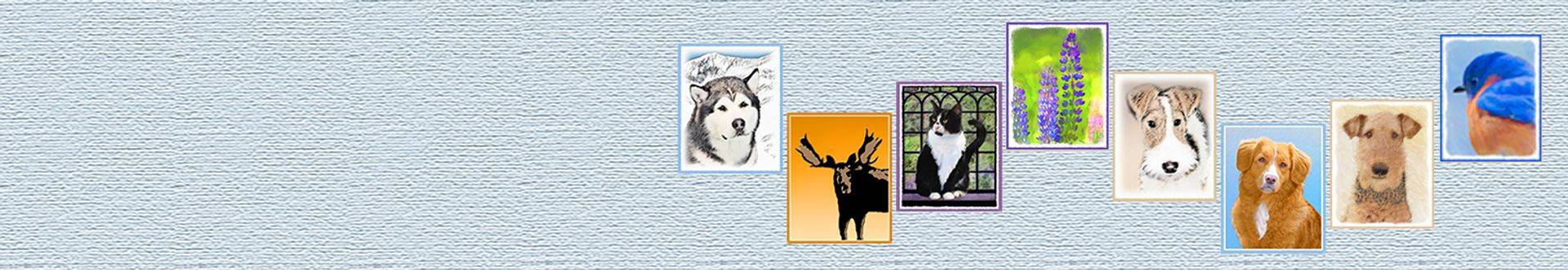original art for dog breeds, cats, bear, wolf, eagle, elk, caribou, moose